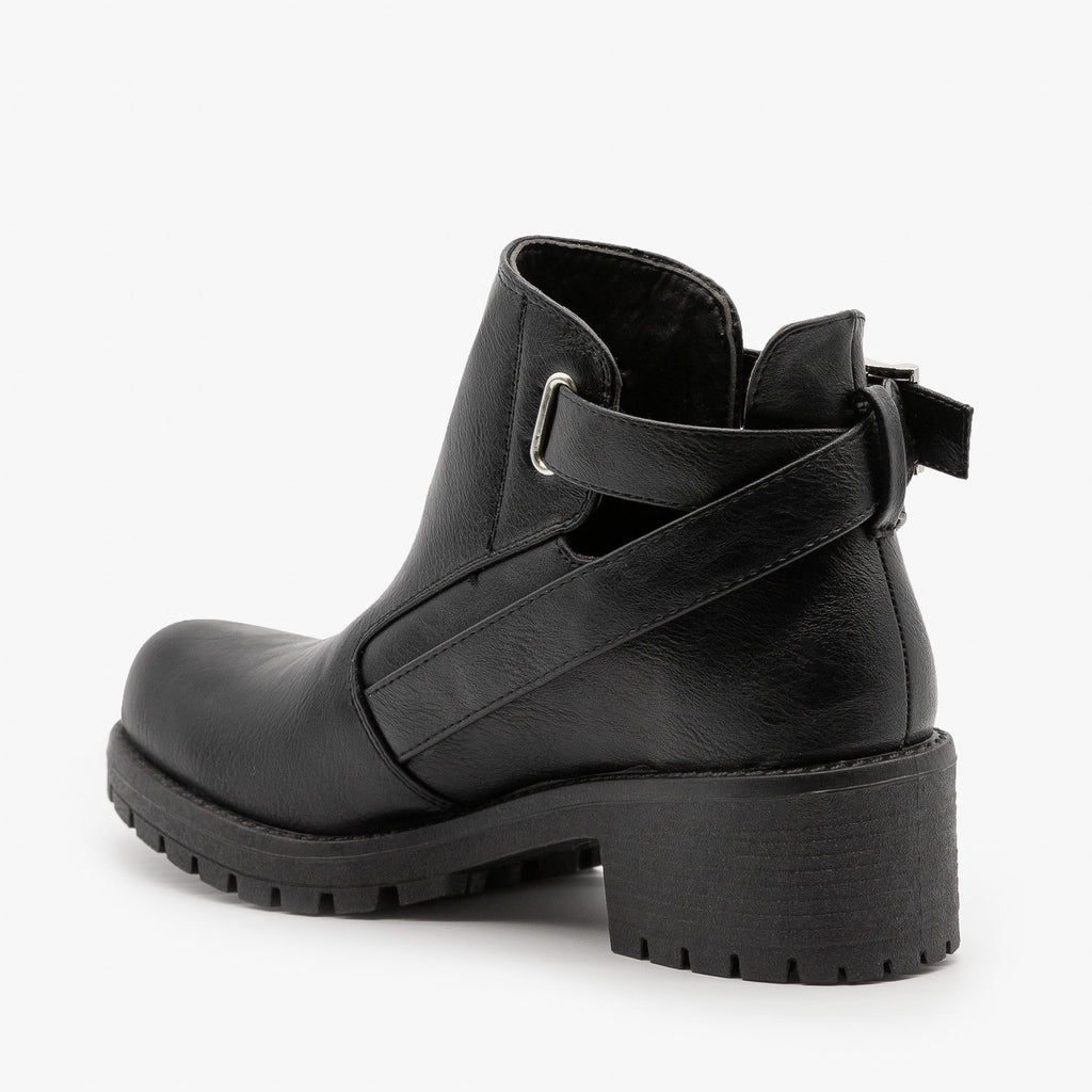 Womens Edgy Zipper Buckled Booties - Qupid Shoes