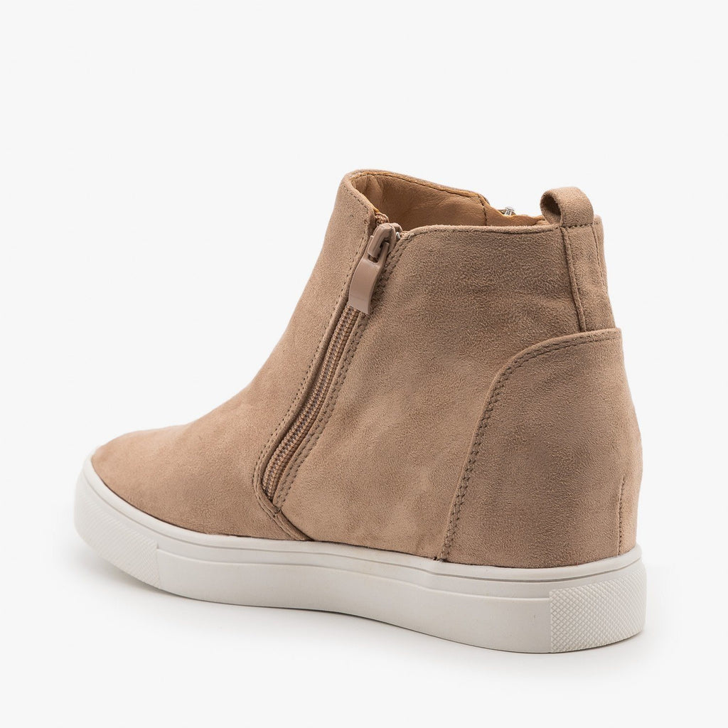 Edgy Zippered Fashion Wedge Sneakers