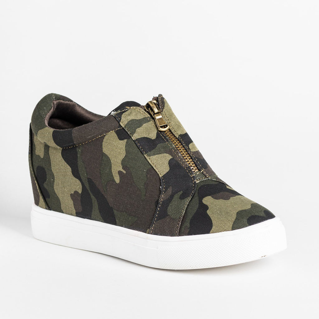 Womens Front Zippered Sneaker Wedges - Forever - Camouflage / 5
