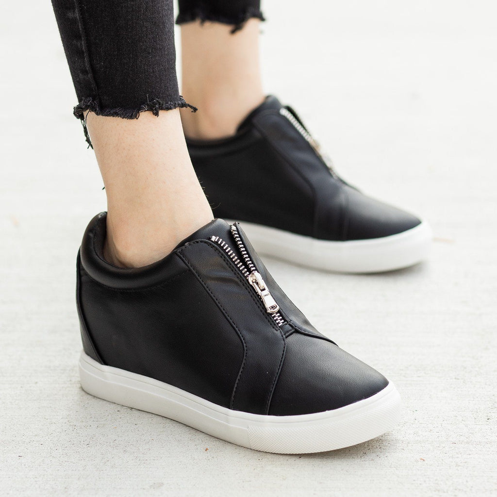 Womens Front Zippered Sneaker Wedges - Forever
