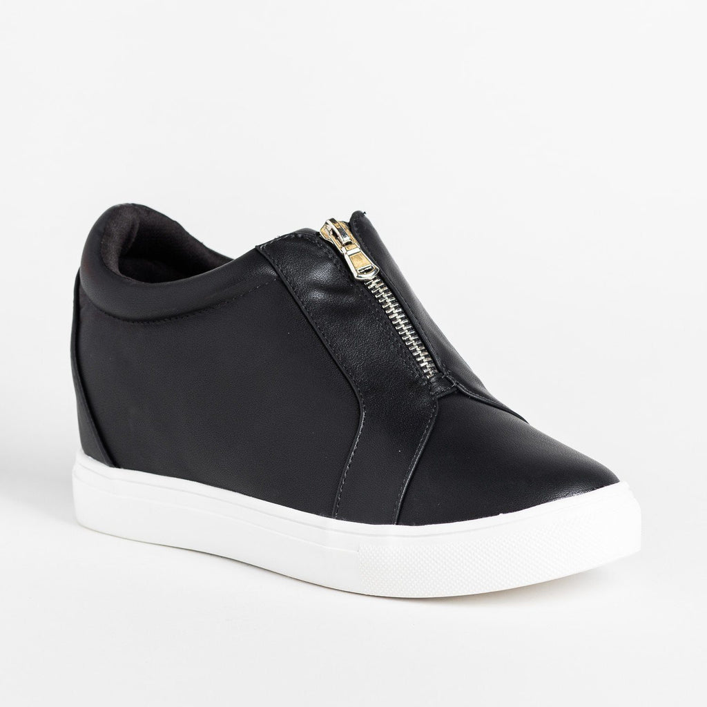 Edgy Zippered Front Sneaker Wedges