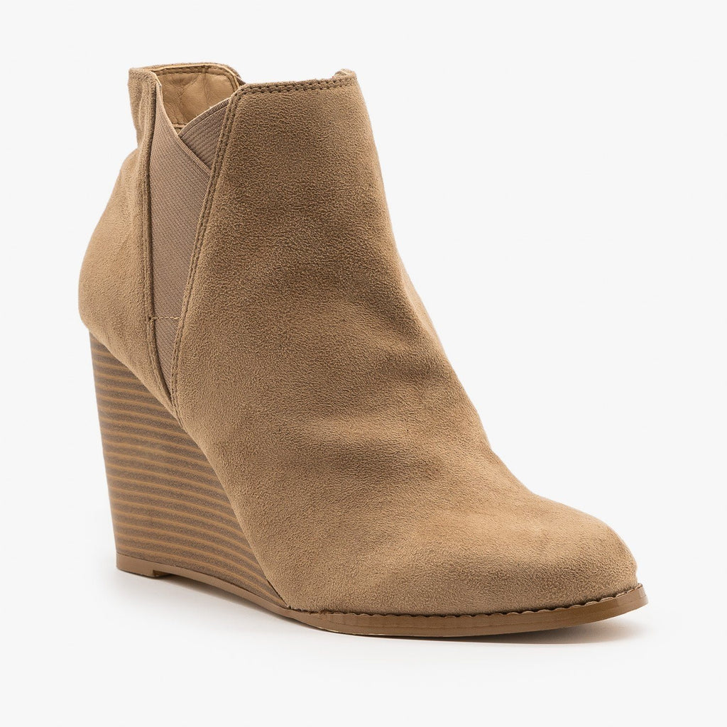 Womens Elastic Accent Wedge Booties - Mata - Taupe / 5