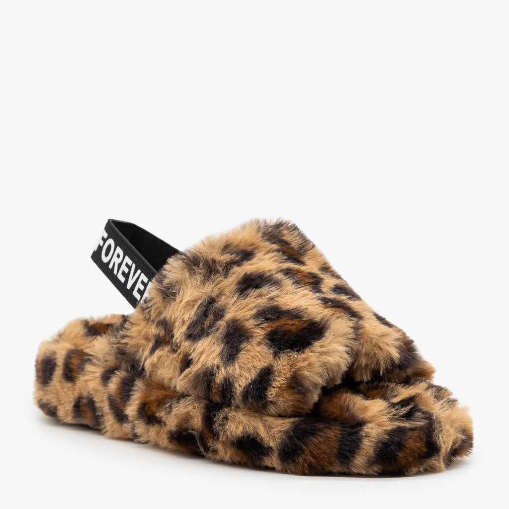 Womens Elastic Back Leopard Faux Fur Slides - Forever