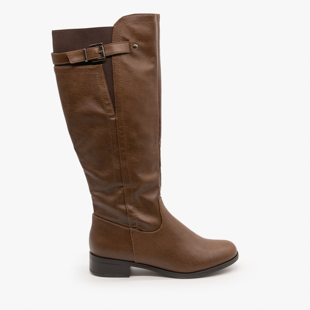Womens Elastic Back Riding Boots - Soda Shoes - Camel / 5