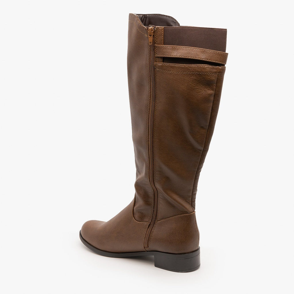 Womens Elastic Back Riding Boots - Soda Shoes