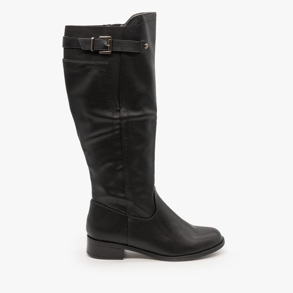 Womens Elastic Back Riding Boots - Soda Shoes - Black / 5