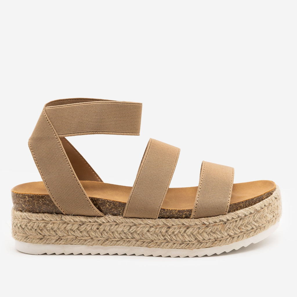 Women's Elastic Cork Espadrille Flatform Sandals - Soda Shoes - Taupe / 5
