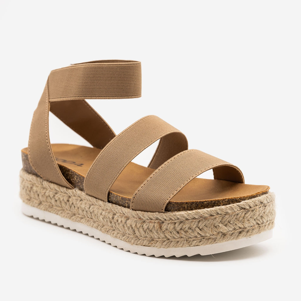 Women's Elastic Cork Espadrille Flatform Sandals - Soda Shoes