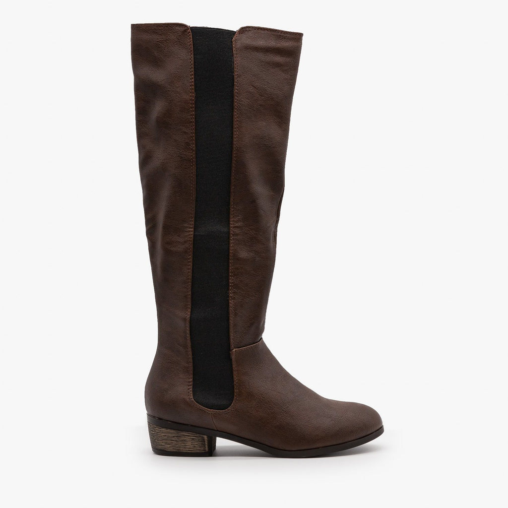 Womens Elastic Panel Riding Boots - Dollhouse Shoes - Brown / 5