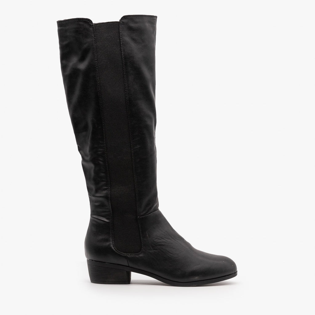 Womens Elastic Panel Riding Boots - Dollhouse Shoes - Black / 5