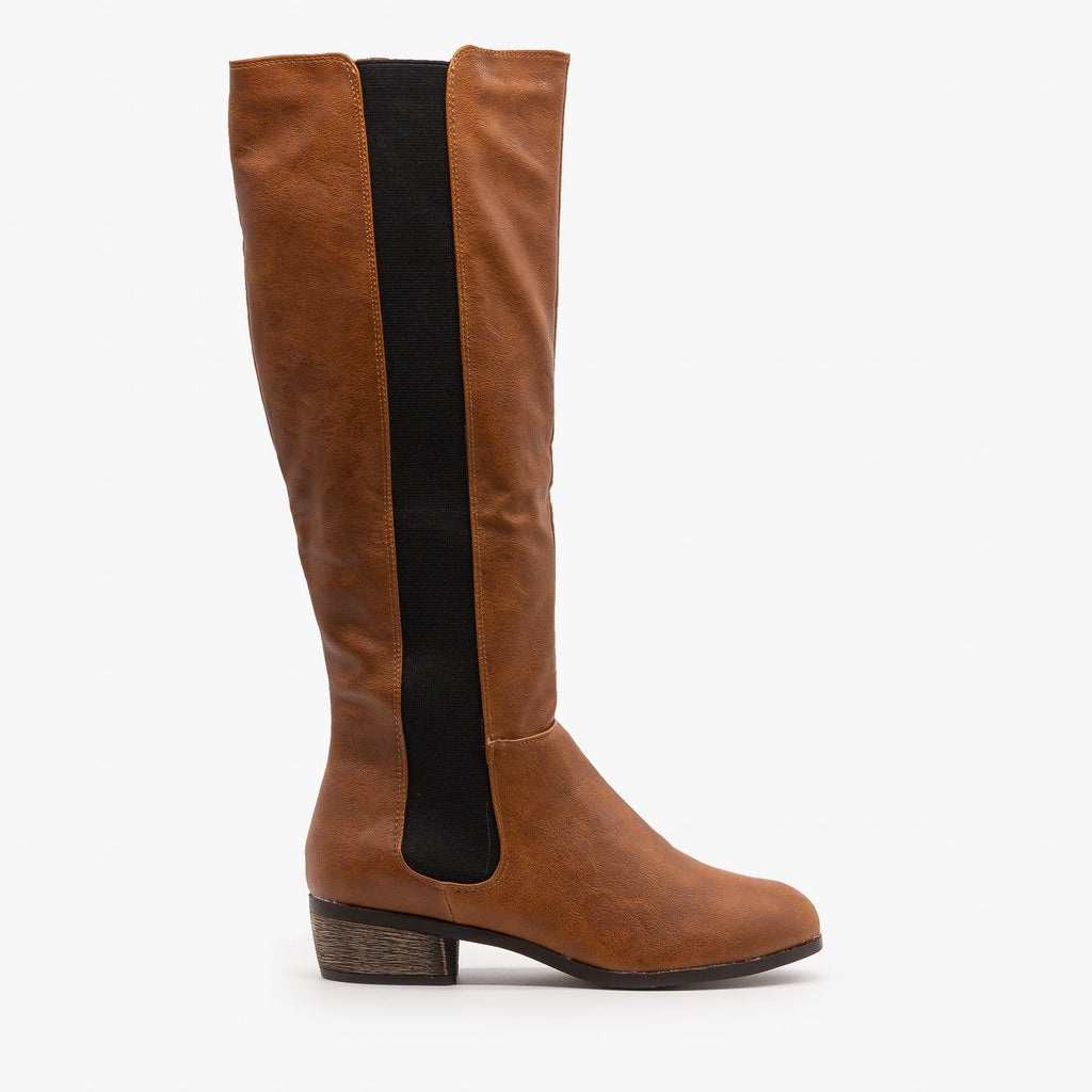 Womens Elastic Panel Riding Boots - Dollhouse Shoes - Chestnut / 5