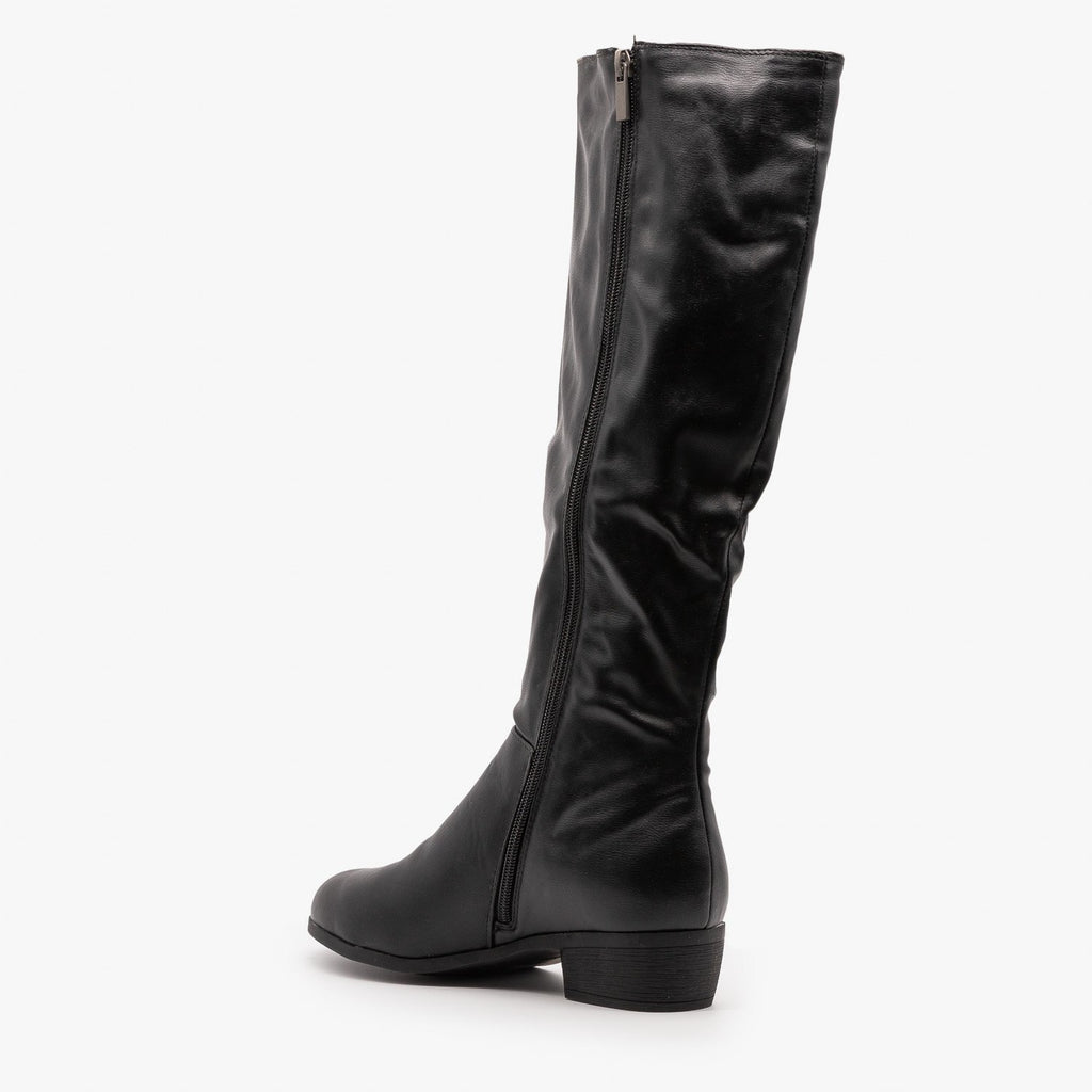 Womens Elastic Panel Riding Boots - Dollhouse Shoes