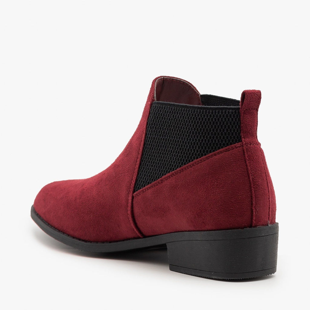 Womens Elastic Side Burgundy Booties - Wild Diva Shoes