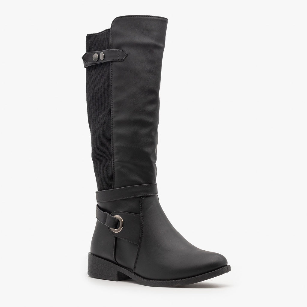 Womens Elastic Side Riding Boots - Forever