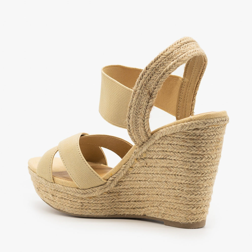 Womens Elastic Strap Espadrille Sandal Wedges - Soda Shoes