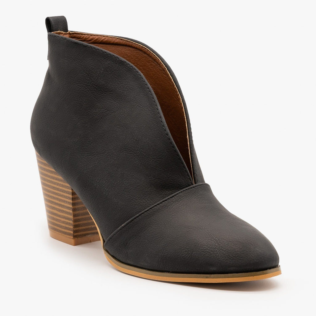 Womens Elegant Front Cut Out Bootie - Weeboo - Black / 5