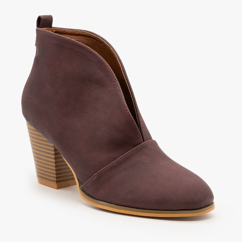 Womens Elegant Front Cut Out Bootie - Weeboo - Wine / 5