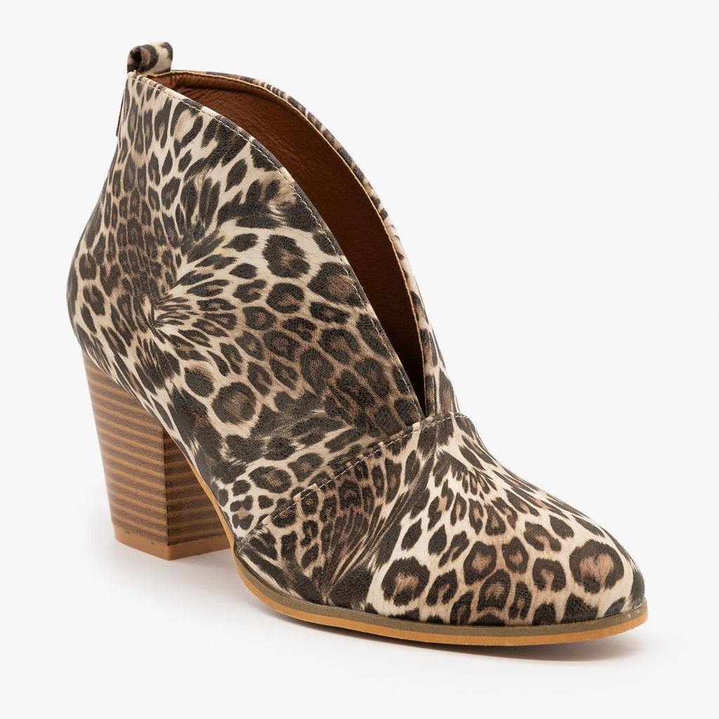 Womens Elegant Front Cut Out Bootie - Weeboo - Leopard / 5