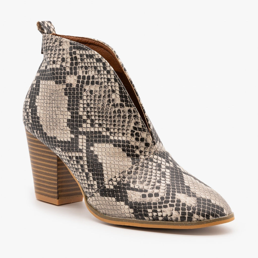Womens Elegant Front Cut Out Bootie - Weeboo - Snake Beige / 5
