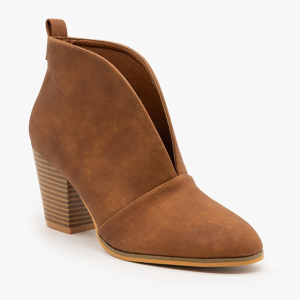 Womens Elegant Front Cut Out Bootie - Weeboo - Rust / 5