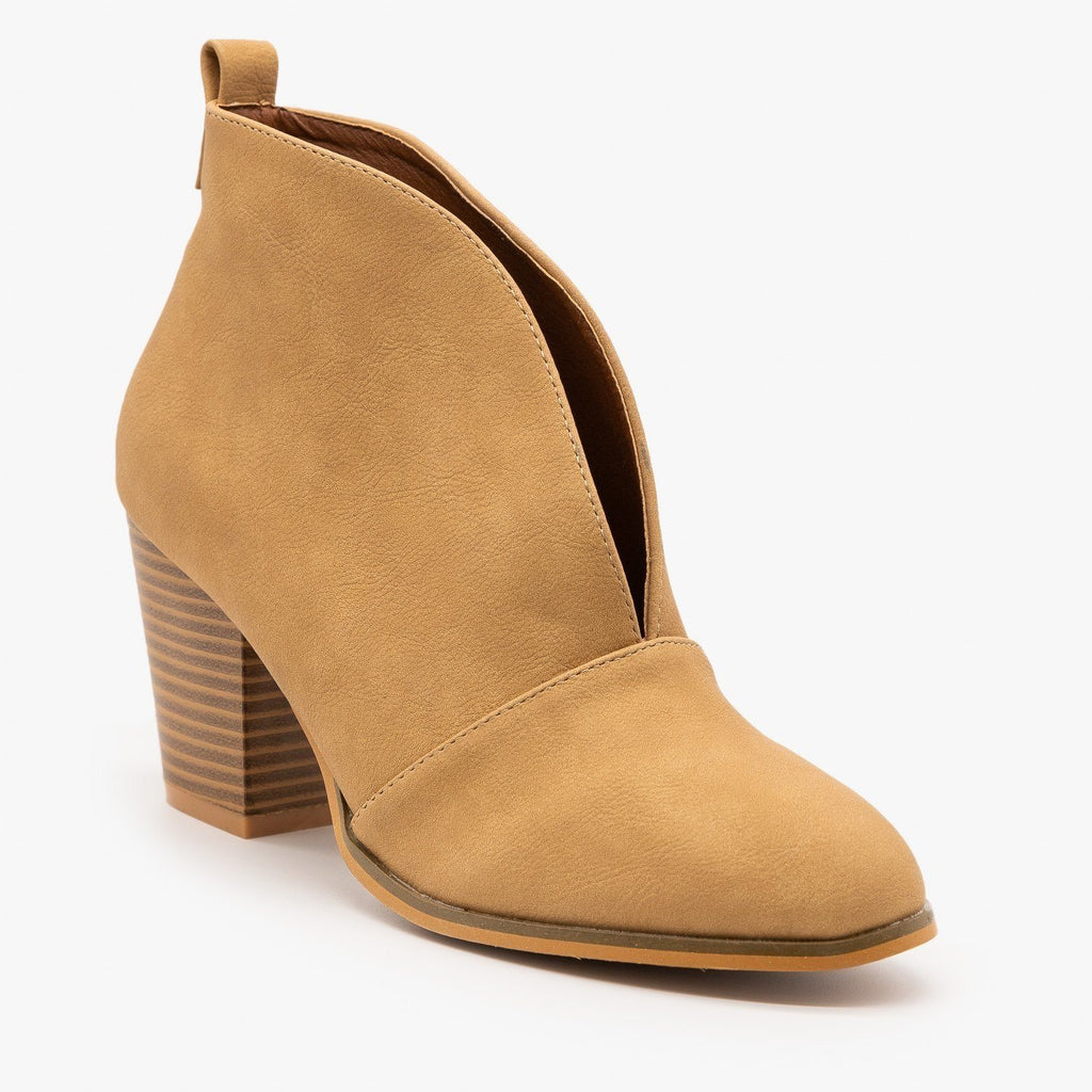 Womens Elegant Front Cut Out Bootie - Weeboo - Wheat / 5