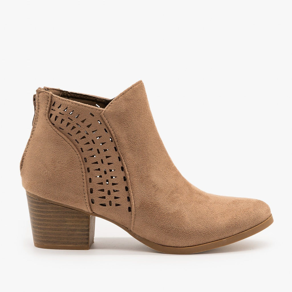 Womens Elegant Laser Cut Booties - Top Moda - Taupe / 5