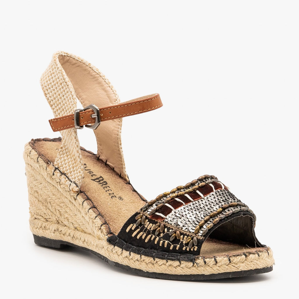 Womens Embellished Espadrille Fashion Wedges - Nature Breeze