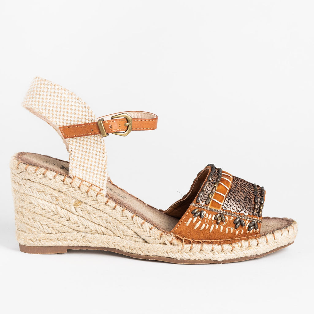 Womens Embellished Espadrille Fashion Wedges - Nature Breeze - Camel / 5