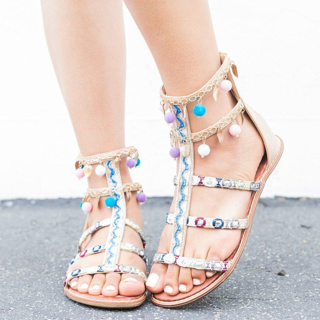 Womens Embellished Pom-Pom Gladiator Sandals - Via Pinky