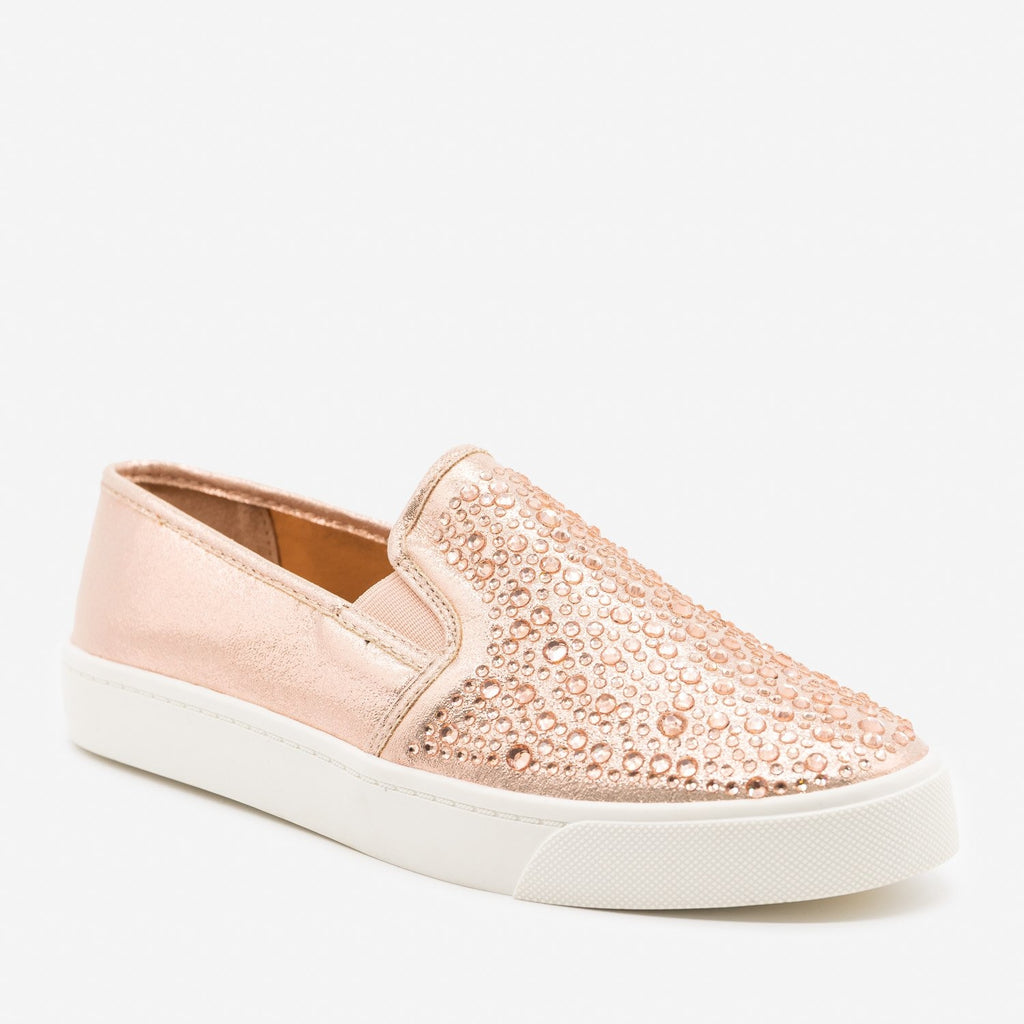 Women's Embellished Slip-On Fashion Sneakers - Soda Shoes - Rose Gold / 5
