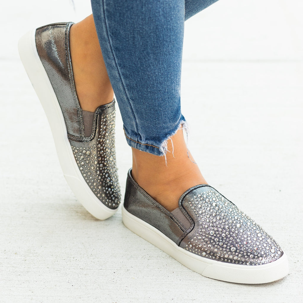 Womens Embellished Slip-On Fashion Sneakers - Soda Shoes - Pewter / 5
