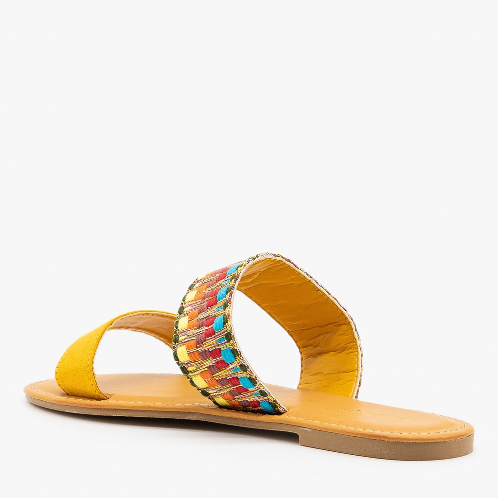 Womens Embroidered Slip On Sandals - Bamboo Shoes