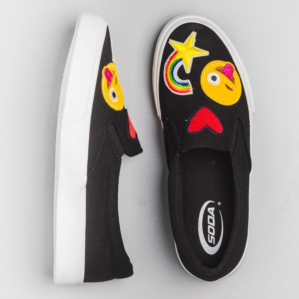 Womens Emoji Slip On Sneakers - Soda Shoes - Black / 5