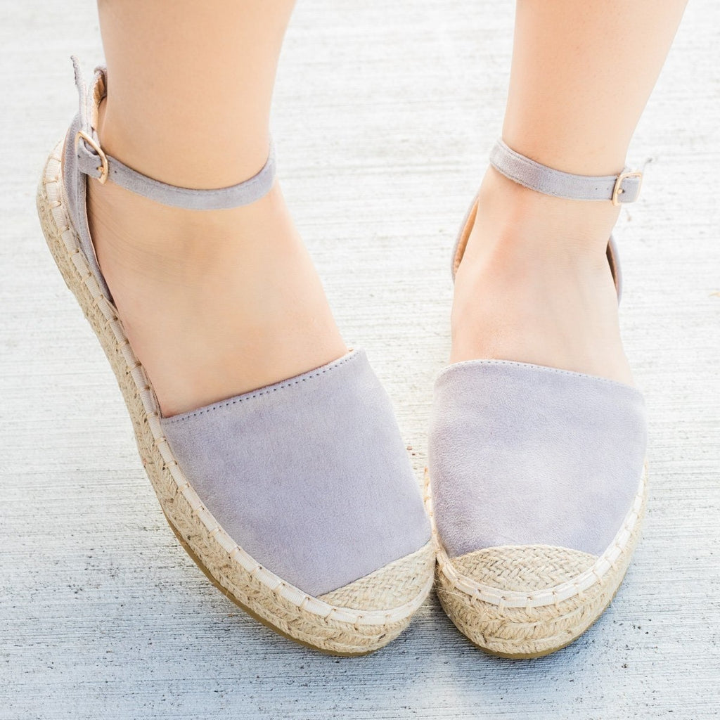 Womens Espadrille Ankle Strap Flats - Bella Marie - Gray / 11