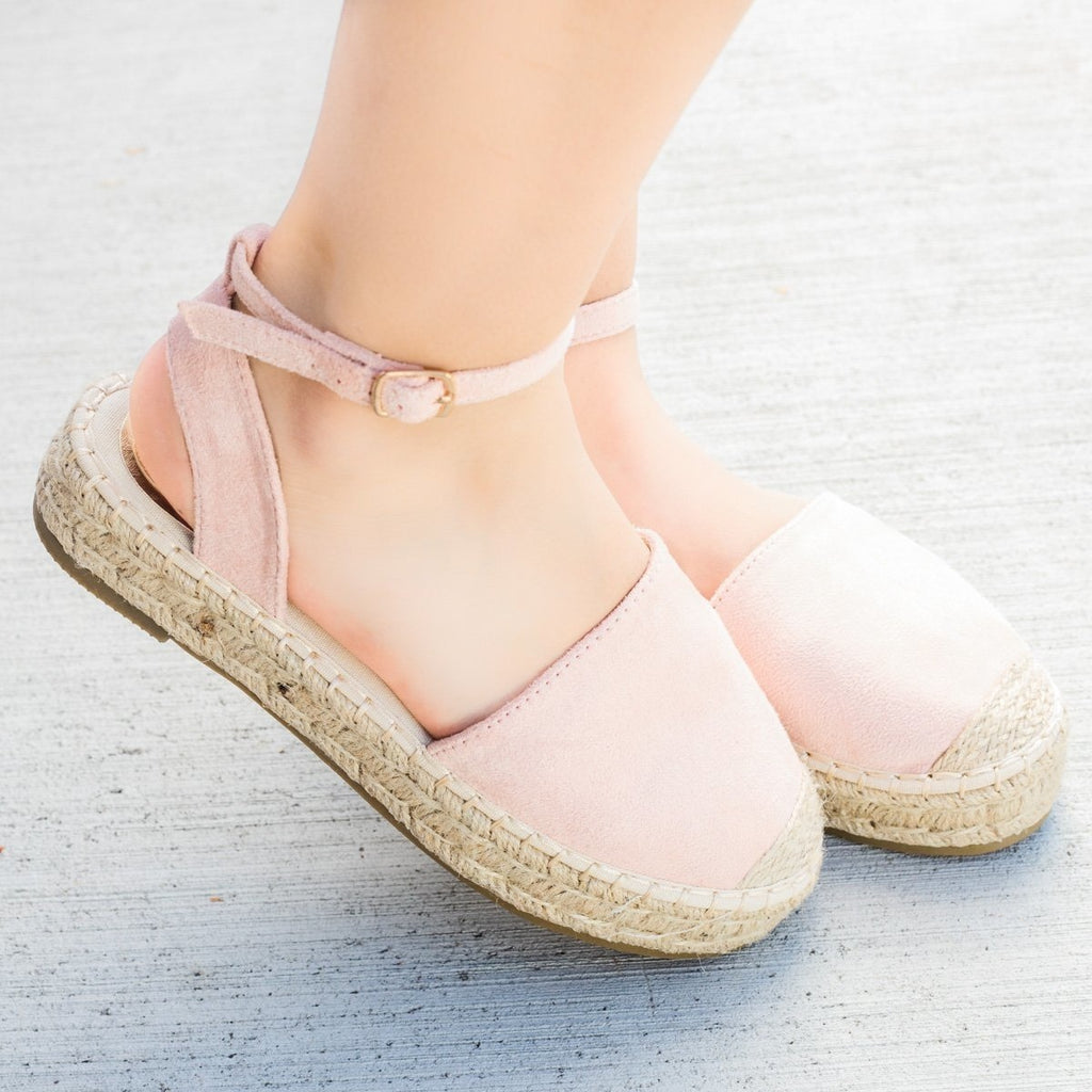 Womens Espadrille Ankle Strap Flats - Bella Marie