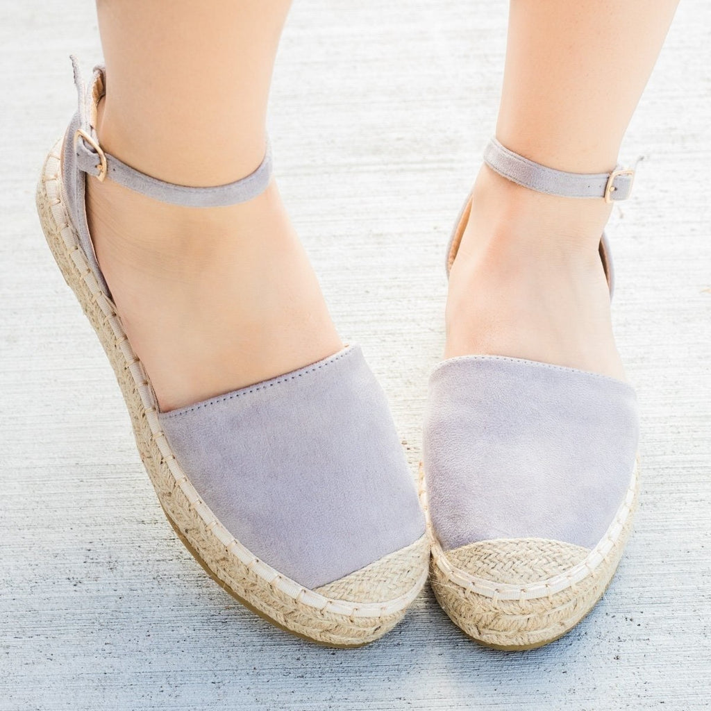 Womens Espadrille Ankle Strap Flats - Bella Marie - Gray / 6.5
