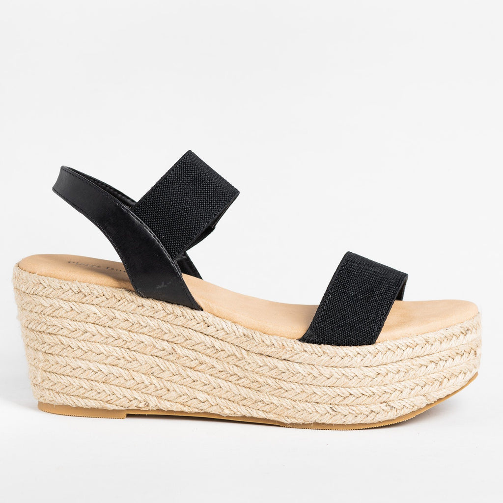 Womens Espadrille Comfort Wedges - Olem - Black / 5