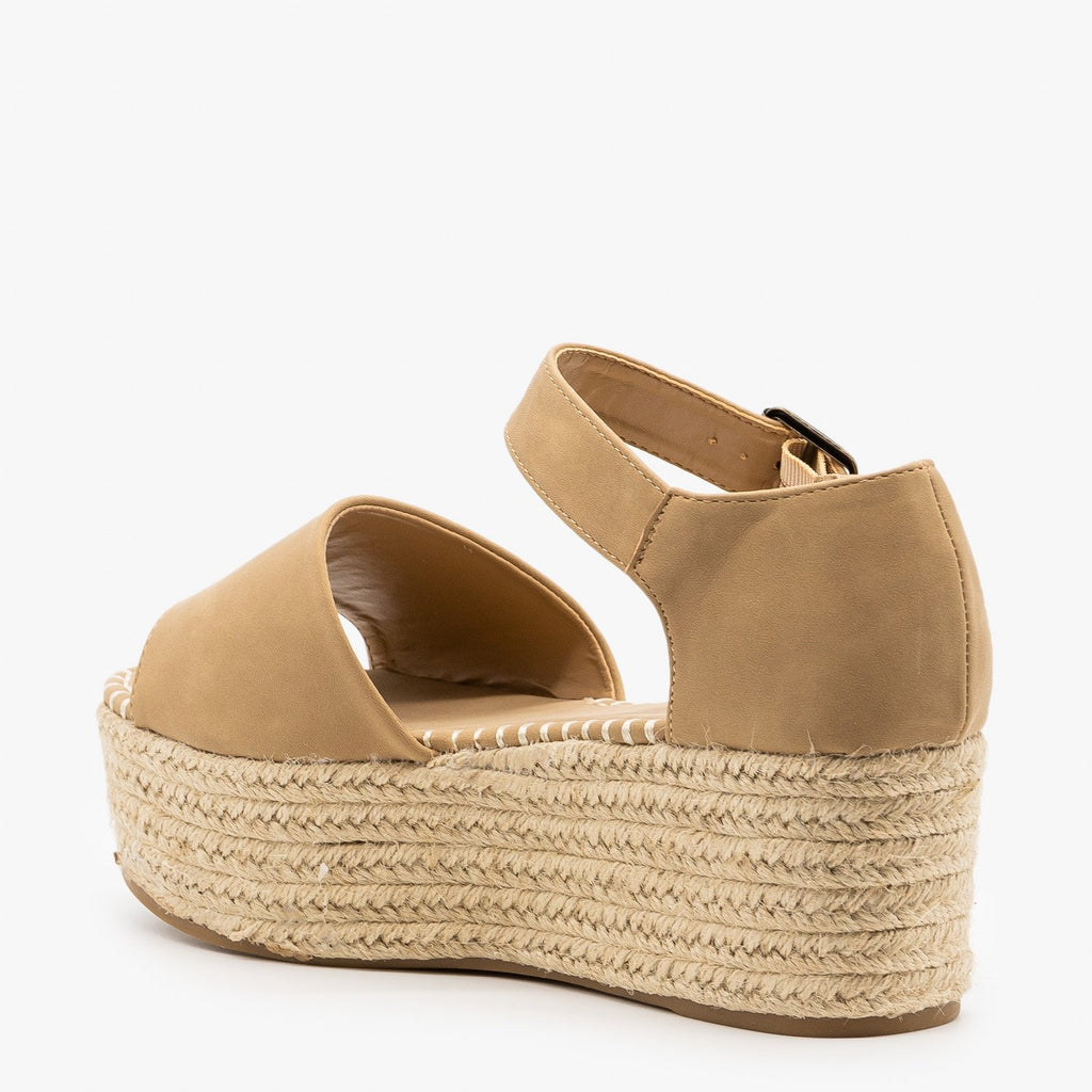Womens Espadrille Flatform Sandals - Bamboo Shoes