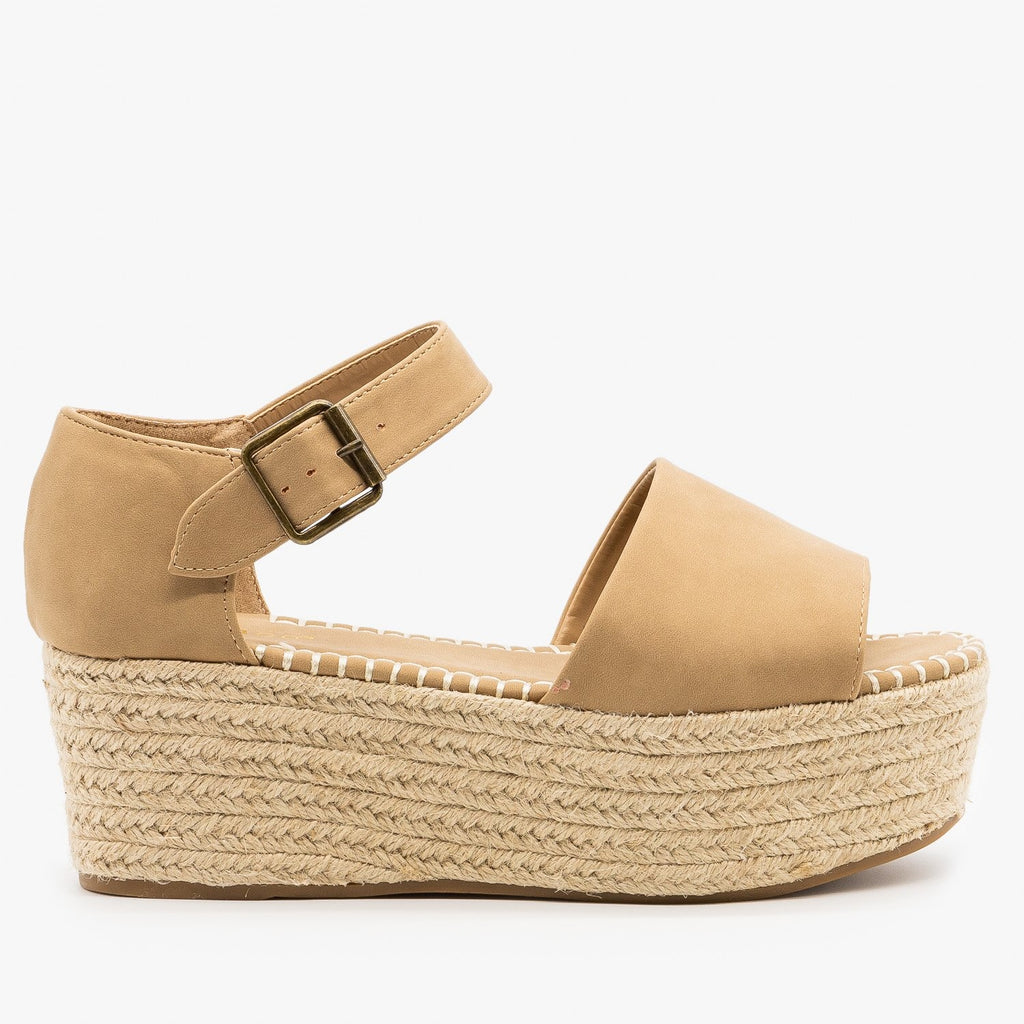 Womens Espadrille Flatform Sandals - Bamboo Shoes - Natural / 5