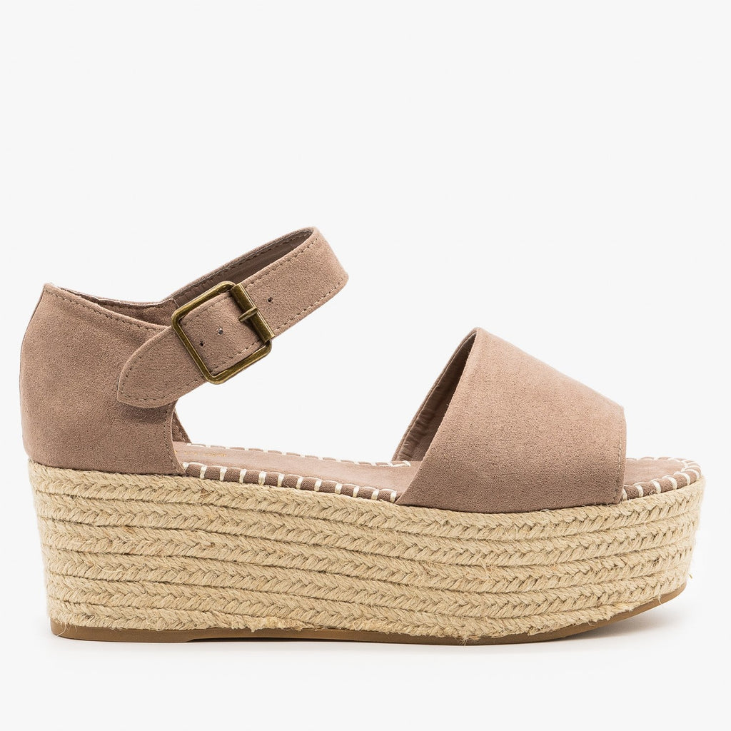 Womens Espadrille Flatform Sandals - Bamboo Shoes - Light Taupe / 5