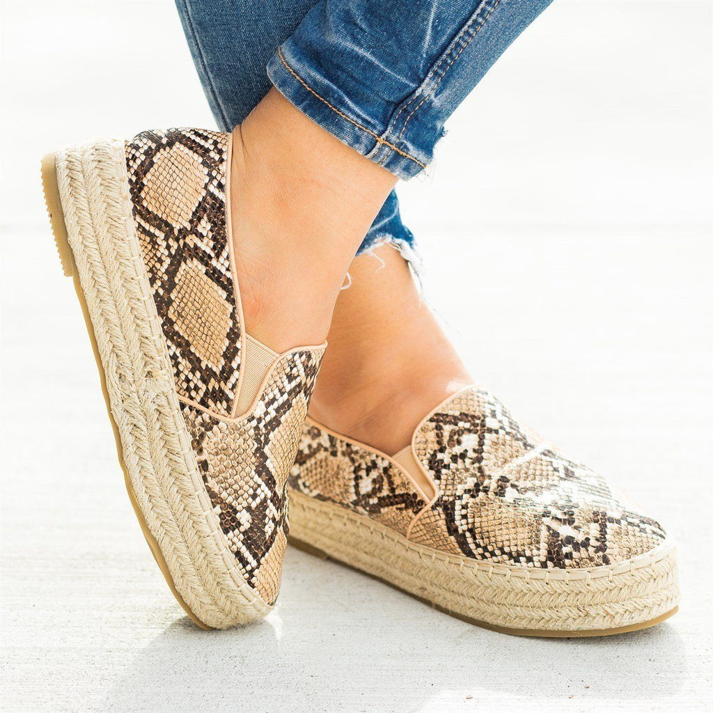 Womens Espadrille Flatform Slip-On Sneakers - Bella Marie