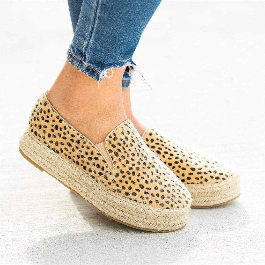 Womens Espadrille Flatform Slip-On Sneakers - Bella Marie - Cheetah / 5