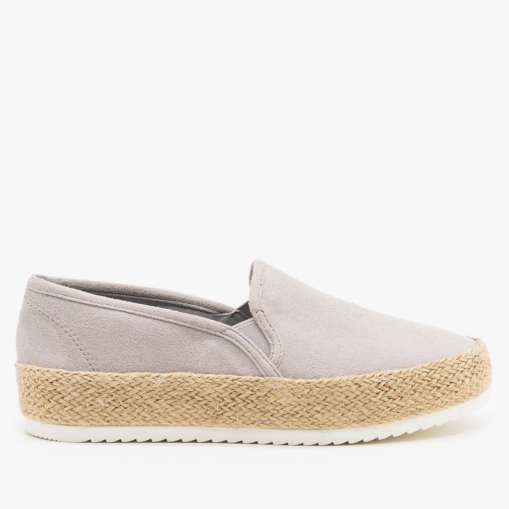 Womens Espadrille Flatform Slip On Sneakers - Soda Shoes - Light Gray / 5
