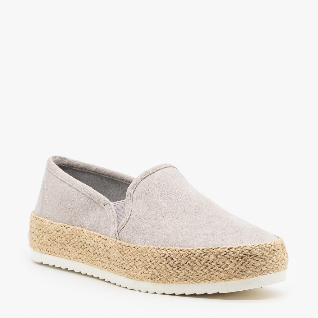 Womens Espadrille Flatform Slip On Sneakers - Soda Shoes