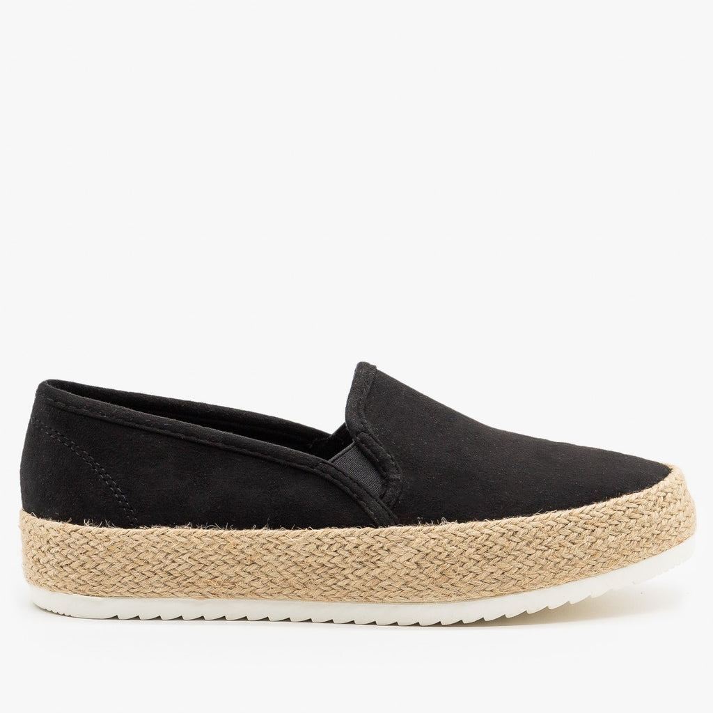 Womens Espadrille Flatform Slip On Sneakers - Soda Shoes - Black / 5