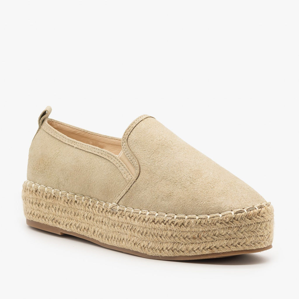 Womens Espadrille Flatform Sneakers - AMS Shoes - Nude / 5