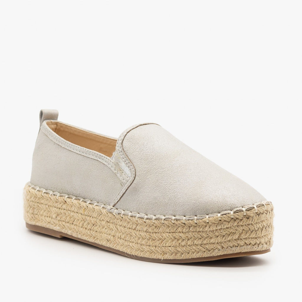 Womens Espadrille Flatform Sneakers - AMS Shoes - Silver / 5