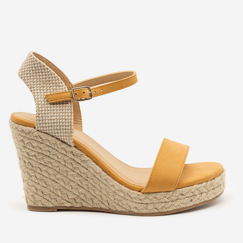 Women's Espadrille Knit Slingback Wedges - Soda Shoes - Mango / 5
