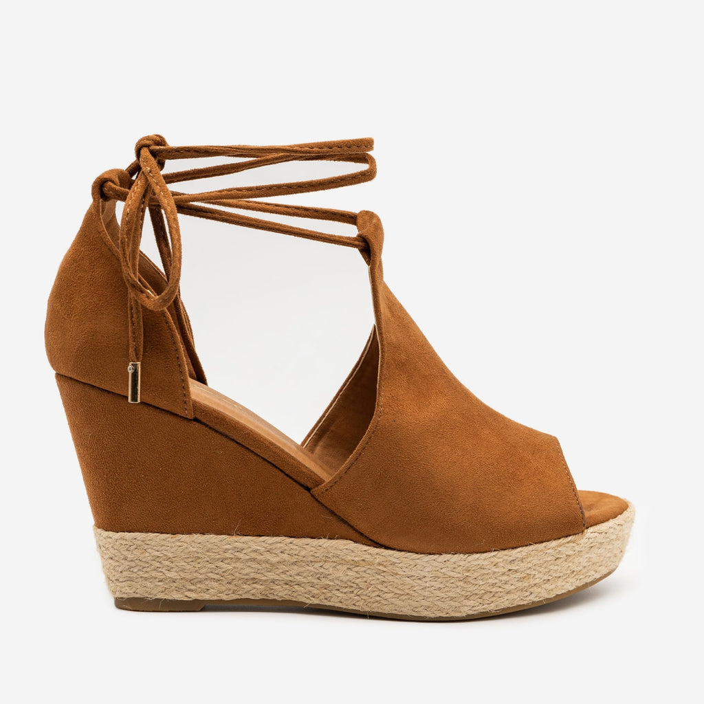 Women's Espadrille Lace Up Wedge - Qupid Shoes - Camel / 5