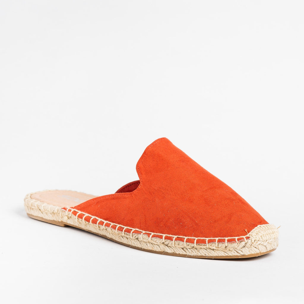 Womens Espadrille Mule Flats - Soda Shoes - Red / 5